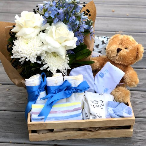 Baby Boy box and blooms